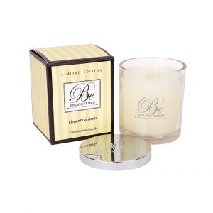 Elegant Gardenia Triple Scented Candle by Be Enlightened